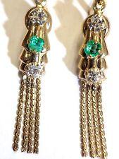 14K Yellow Gold .20CT Colombian Emerald .40CT  Diamond Dangle Tassel Earrings