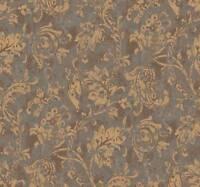 Wallpaper Designer Metallic Gold Jacobean Fruit Leaf Vine on Aqua and Brown Faux
