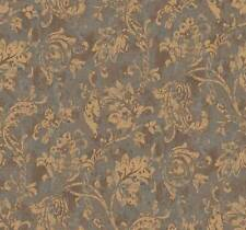 Wallpaper Designer Metallic Gold Jacobean Fruit Leaf Vine on Aqua and Brown Faux