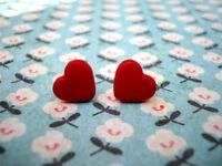 FUNKY RED MINI HEART EARRINGS SWEET LOVE CUTE KITSCH EMO ROCKABILLY VALENTINE 80
