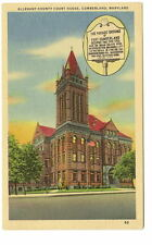 CUMBERLAND MD Allegany County Court House & Sign Vtg PC