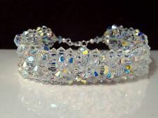 New Sparkly Crystal AB Bead Woven Cuff 925 Bracelet made with Swarovski Elements