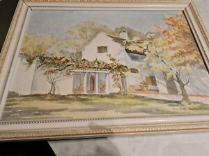 Watercolour Of A South African House By S African Artist Lorna Douglas...