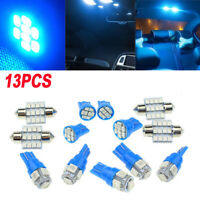13pcs LED Lights Car Interior Blue Lamp Dome Map License Plate Bulb T10 & 31MM