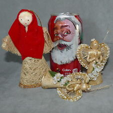 Christmas Ornament Angel Country Straw Decoration Straw Mother Mary Lot of 3