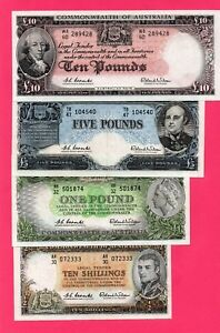 1954/61COMMONWEALTH OF AUSTRALIA 4 NOTES SET COOMBS/WILSON 10/-,I,5,AND10 POUNDS