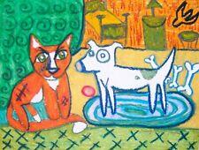 American Pit Bull Terrier tom cat Folk Art Print 8 x 10 Pitbull Dog Collectible