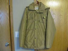 Mens VTG JOHN DEERE Hooded Winter Coat JD Zip Up & Snap Beige Size M Medium EXC