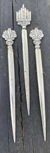 3Antique Vintage Italy Made Stainless Olive Hors d'oeuvre sticks