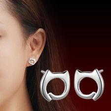 Korean Fashion Womens 925 Sterling Silver Cute Lazy Cat Simple Ear Stud Earrings