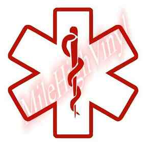 Star of Life EMS Medic Vinyl Decal Window Glass Sticker