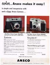 1954 Ansco Super Speedex Folding & Memar 35mm Camera Vtg Print Ad