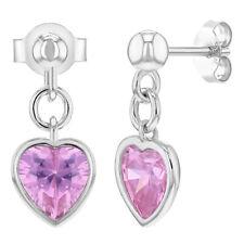 925 Sterling Silver Pink CZ Heart Ball Stud Dangle Earrings Girls Teens