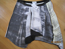 HELMUT LANG Parallel Print Skirt With Leather Belt size 8
