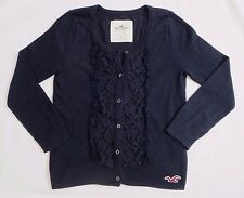 Hollister Womens Floral Lace Cardigan Size Small Top Shirt 3/4 Sleeve Navy Blue