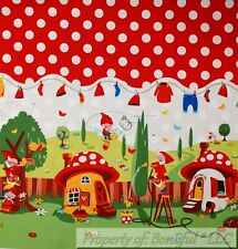 BonEful Fabric BTHY Cotton Quilt Red White Dot Gnome House Michael Miller Border