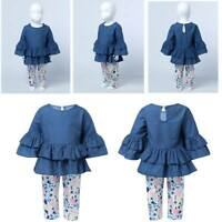Baby 2Pcs Girls Casual Outfits Ruffle Peplum Tops Floral Pattern Pants Clothes