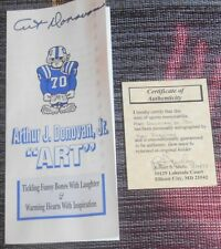 ART DONOVAN (BALTIMORE COLTS) AUTOGRAPH ON HIS BIO PAMPHLET WITH COA