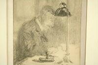Gabriel Pascal QUIDOR (1875-1928): Bleistift Zeichnung Schreibender Frankreich
