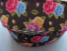 """Grosgrain Colourful Floral Flowers Roses Ribbon 1"""" 25mm"""