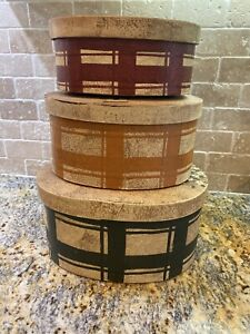 Lot Of 3 Stacking Boxes Decorative Cardboard Nesting Boxes Birdhouses Primitive