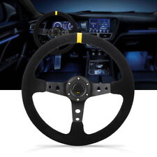 350mm 6 Bolt Suede Leather Deep Dish Car Steering Wheel Horn Button Universal GL