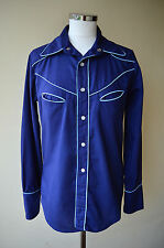 Marshall Lester vintage 70s blue cowgirl cowboy shirt ~ UK 12