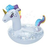 "Pool Float Inflatable Swim Ring Unicorn swimming 51"" with glitter  beach fun NEW"