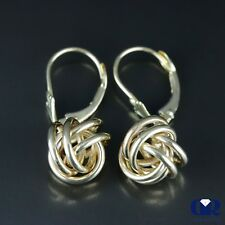 14K Solid Yellow Gold Love Knot Dangle Earrings With Lever back