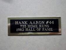 "Hank Aaron Nameplate For A Baseball Ball Cube Square Or Card Plaque 1"" X 3"""