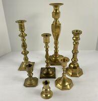 Vintage 7 Piece Brass Candle Stick Holder Candlestick Boho Vtg Tablescape
