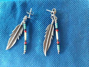 Ohrhänger Sterling silber Feder mit Steinchen,Navajo Indianerschmuck