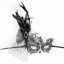 Swan Metal Venetian Masquerade Mask with Feathers for Women M7139 [Black]