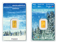 1g Argor Heraeus Goldbarren 1 Gramm 9999 Winter Schnee