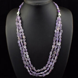 260.00 Cts Natural Purple Amethyst Oval Shape Carved Beads Necklace JK 24E174