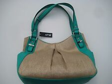 APT 9 Purse/Handbag/Tote Brady Shopper Nat Str Turquoise - Retail $59