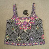 Women's ATMOSPHERE Indian Style Cropped Top Size 12 UK BNWT Embroidered Beaded