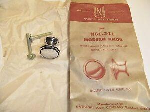 Vintage National Lock N61-241 CHROME  Modern Knob Black Line
