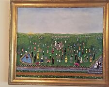 "1971 Signed Original Fannie Lou Spelce ""Easter Egg Hunt"", Folk Artist"