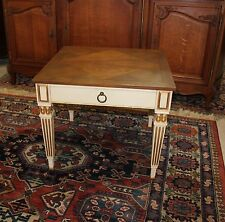 Louis XVI Style Baker White Side Table One Drawer End Accent Table with Storage