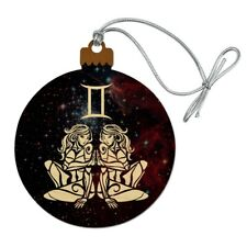 Gemini Twins Zodiac Sign Horoscope in Space Wood Christmas Tree Holiday Ornament