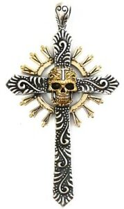 MEXICAN CROSS GOLD SKULL SOLID STERLING 925 SILVER PENDANT