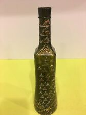 "Hand Painted Decorated Wine Bottle Vase Home Decor Gift 13"" Tall"