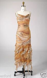 Size 6 - 8 Silk Print Beading Cocktail Evening Formal Party Maxi Long Dress