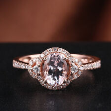 Elegant! 14K Rose Gold 5x7mm Oval Pink Morganite Halo Natural Diamond Fine Ring