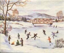 New listing VINTAGE CHRISTMAS ICE SKATING SKATERS HOCKEY SNOW POND FIRE SNOW GREETING CARD