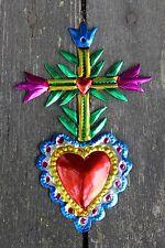 Mexican Tin Milagro Ornament Heart & Cross Love Token! Hand made Folk Art Oaxaca