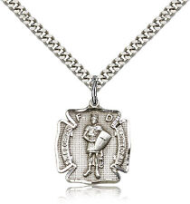 "Saint Florian Medal For Men - .925 Sterling Silver Necklace On 24"" Chain - 30..."