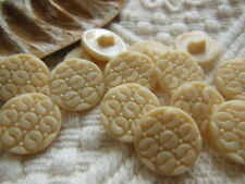 lot 12 boutons anciens en verre beige à pied 1,7 cm Ref 2290