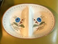 Vintage Stangl Blue Daisy divided vegetable bowl